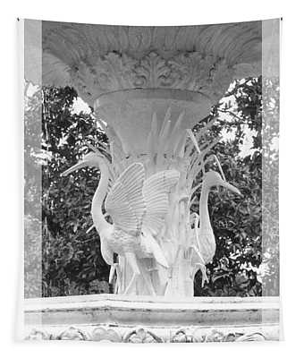 Forsyth Fountain - Black And White 4 Tapestry