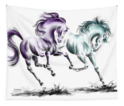 Frolicking - Wild Horses Print Color Tinted Tapestry