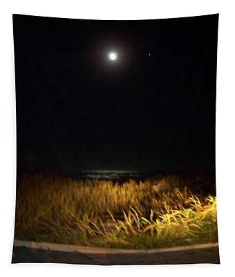Full Moon With Golden Beach Glow  Tapestry