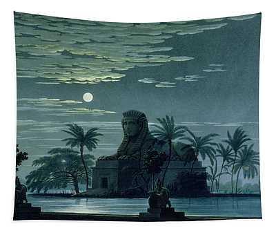 Garden Scene With The Sphinx In Moonlight Tapestry