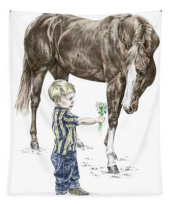 Getting To Know You - Boy And Horse Print Color Tinted Tapestry