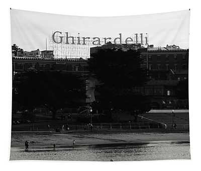 Ghirardelli Square In Black And White Tapestry