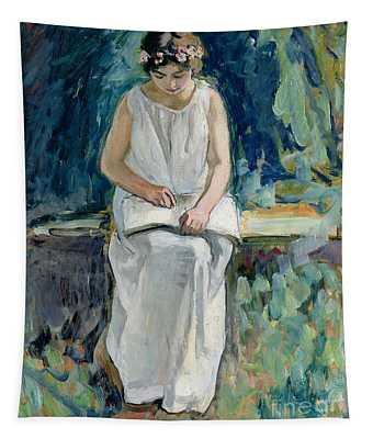 Girl Reading Tapestry