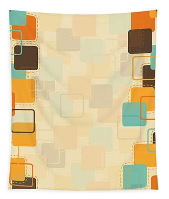 Graphic Square Pattern Tapestry