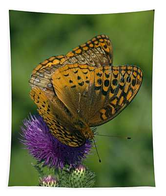 Great Spangled Fritillaries On Thistle Din108 Tapestry