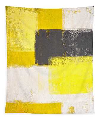 Simply Modern - Grey And Yellow Abstract Art Painting Tapestry