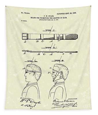 Hair Growth System 1903 Patent Art Tapestry
