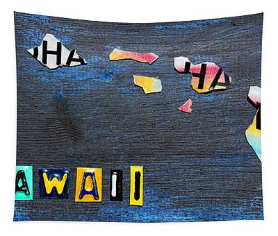 Hawaii License Plate Map Tapestry