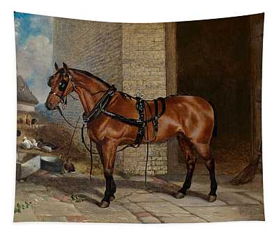 Horse In Harness Tapestry