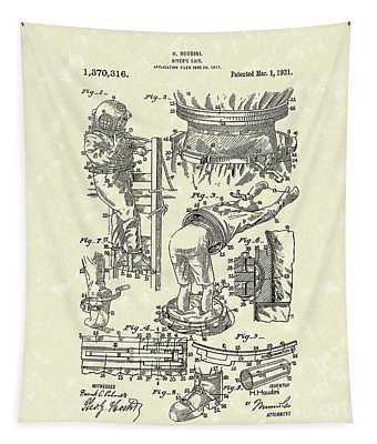 Houdini Divers Suit 1921 Patent Art Tapestry