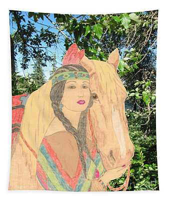 Indian Princess And Horse Tapestry