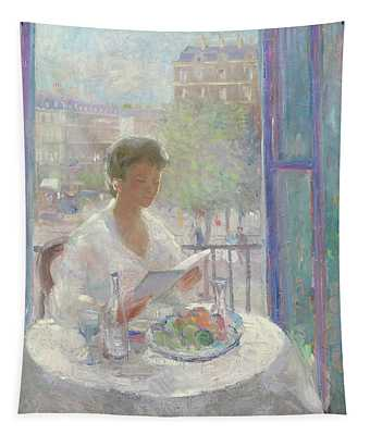 Lady Reading At An Open Window  Tapestry