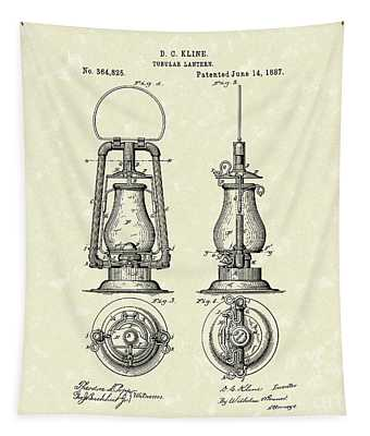Lantern 1887 Patent Art Tapestry by Prior Art Design