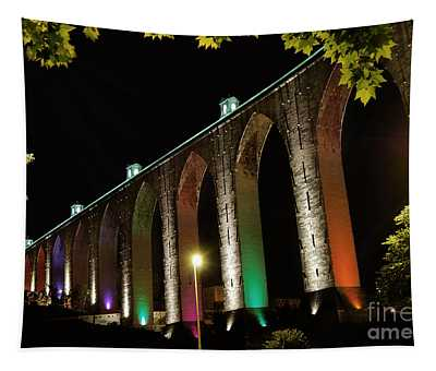 Lisbon Historic Aqueduct By Night Tapestry