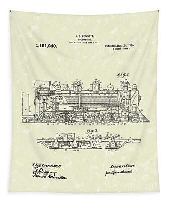 Locomotive 1915 Patent Art Tapestry by Prior Art Design