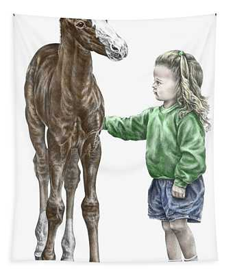 Love At First Sight - Girl And Horse Print Color Tinted Tapestry