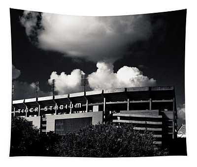 Lsu Tiger Stadium Black And White Tapestry