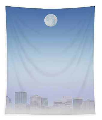 Moon Over Buildings Tapestry