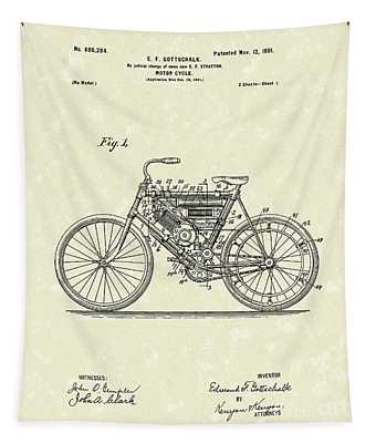 Motorcycle 1901 Patent Art Tapestry