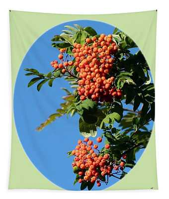 Mountain Ash Berries-oval Tapestry