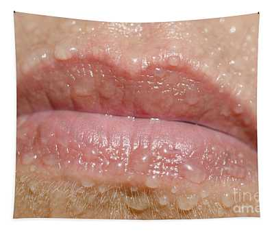Mouth With Water Drops Tapestry