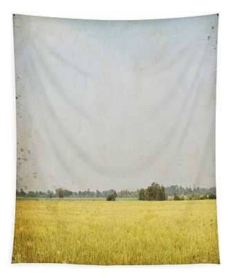 Nature Painting On Old Grunge Paper Tapestry