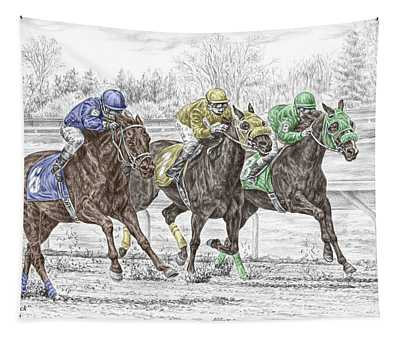 Neck And Neck - Horse Race Print Color Tinted Tapestry