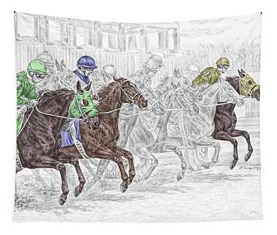 Odds Are - Tb Horse Racing Print Color Tinted Tapestry