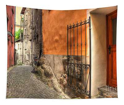 Old Colorful Rustic Alley Tapestry