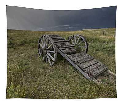 Old Prairie Wheel Cart Saskatchewan Tapestry
