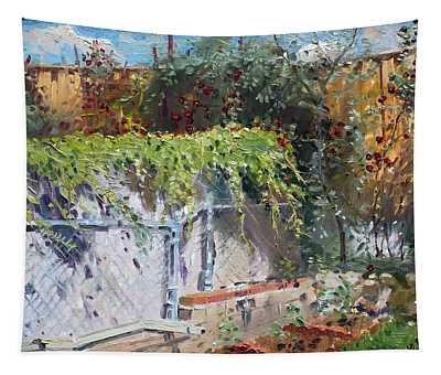 On The Backyard Of My Studio Tapestry