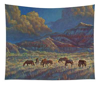 Painted Desert Painted Horses Tapestry
