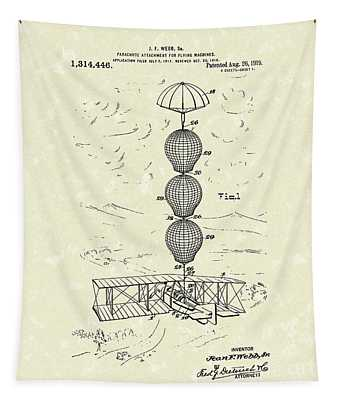 Parachute Attachment For Flying Machines 1919 Patent Art Tapestry