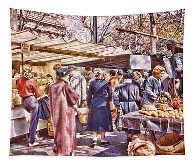 Parisian Market 1954 Tapestry