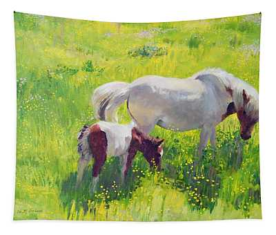 Piebald Horse And Foal Tapestry