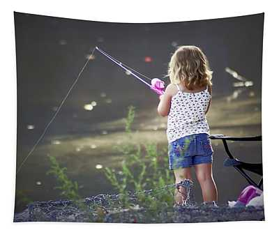 Pink Fishing Rod Tapestry