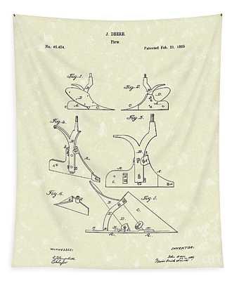 Plow 1866 Patent Art Tapestry