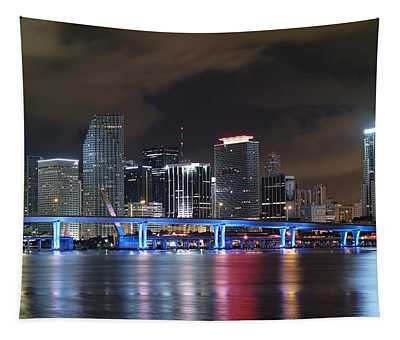 Port Of Miami Downtown Tapestry