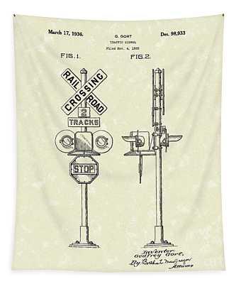 Railroad Traffic Signal 1936 Patent Art Tapestry by Prior Art Design