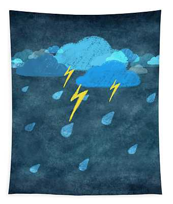 Rainy Day With Storm And Thunder Tapestry