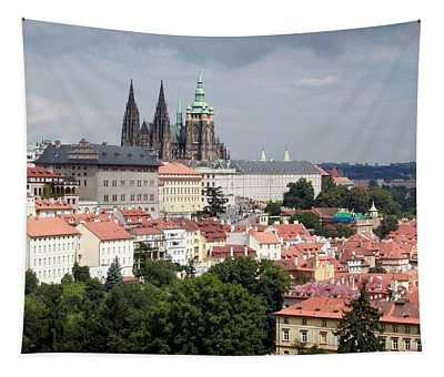 Red Rooftops Of Prague Tapestry