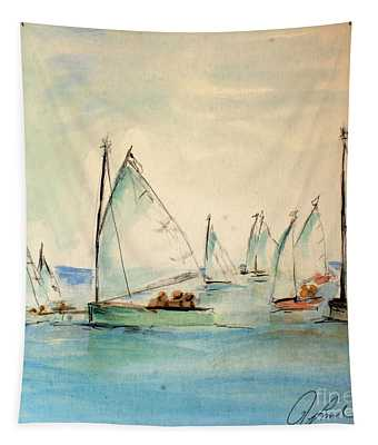 Sailors In A Runabout Tapestry