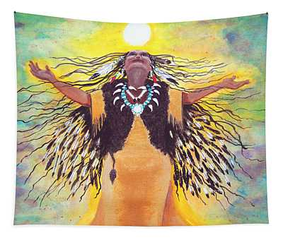 Saying Good Morning To The Sun Tapestry by Vallee Johnson