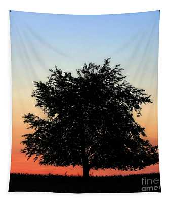 Make People Happy  Square Photograph Of Tree Silhouette Against A Colorful Summer Sky Tapestry