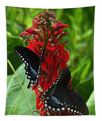 Spicebush Swallowtails Visiting Cardinal Lobelia Din041 Tapestry
