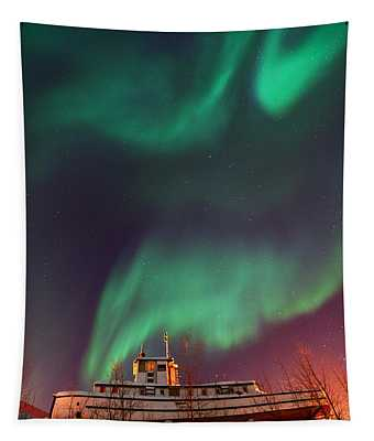 Steamboat Under Northern Lights Tapestry