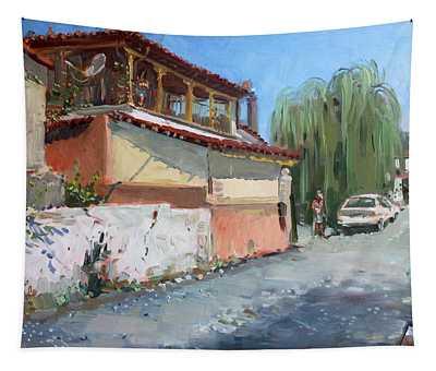 Street In A Greek Village Tapestry