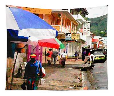 Street Scene In Rosea Dominica Filtered Tapestry