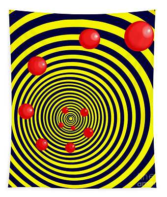 Summer Red Balls With Yellow Spiral Tapestry