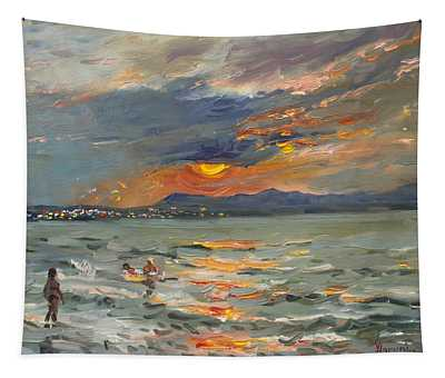 Sunset In Aegean Sea Tapestry